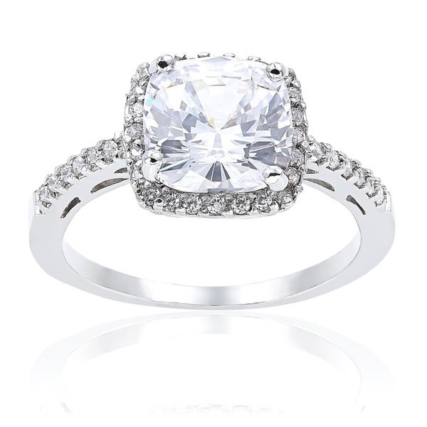 Icz Stonez Sterling Silver Square-cut Cubic Zirconia Engagement-style Ring