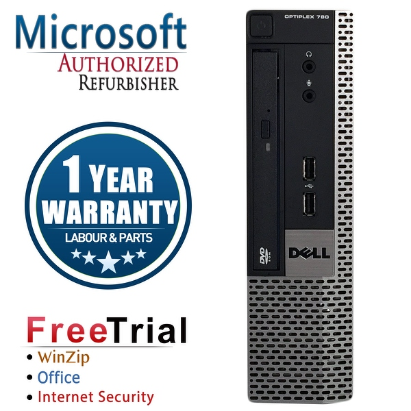 Refurbished Dell OptiPlex 780 USFF Intel Core 2 Duo E8400 3.0G 4G DDR3 160G DVD Win 7 Pro 64 Bits 1 Year Warranty - Silver