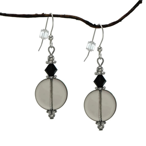 Jewelry by Dawn Smokey Grey and Glass Coin Earrings