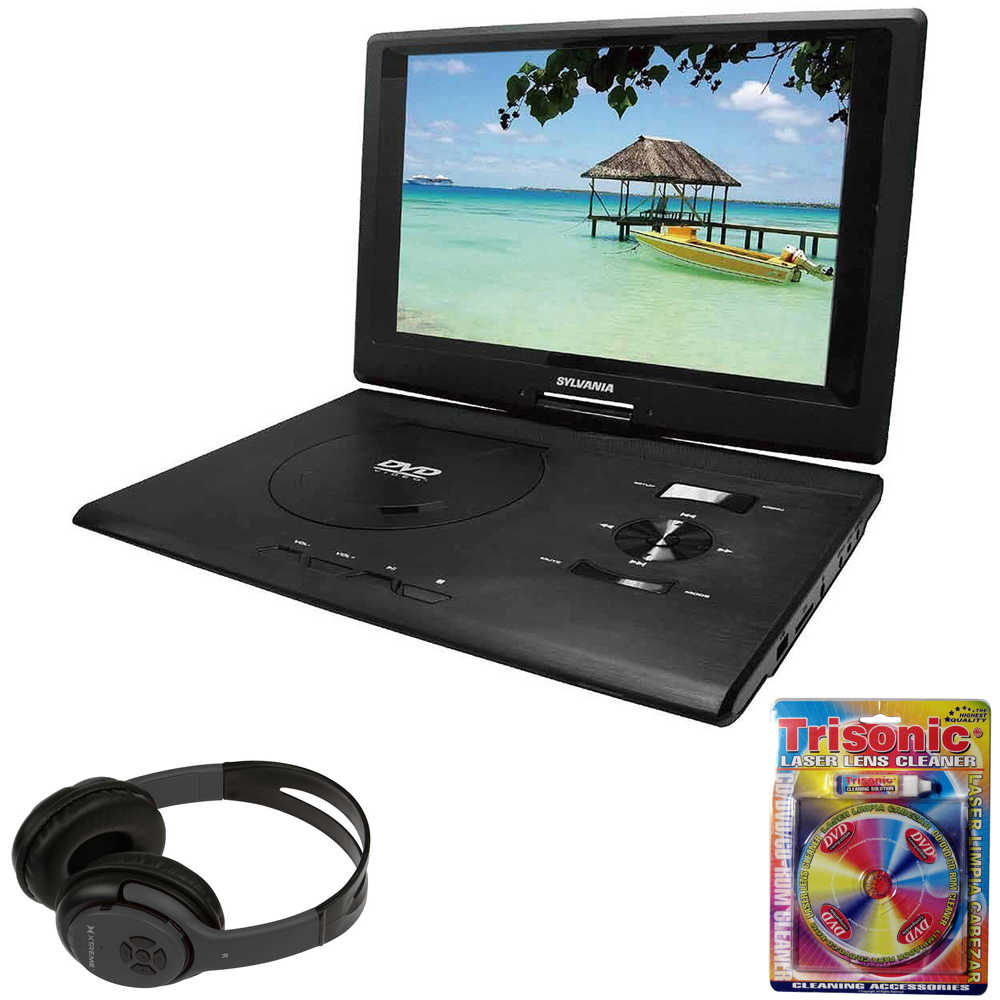 Sylvania 13.3' Swivel Screen Portable DVD Player w/ USB/SD Card Reader Black (SDVD1332) + Bluetooth Bundle with Wireless Headphones