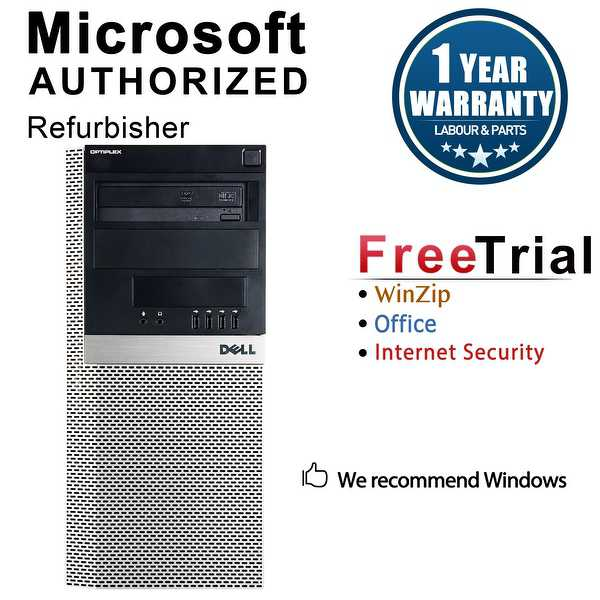 Dell OptiPlex 960 Computer Tower Intel Core 2 Duo E8400 3.0G 4GB DDR2 250G Windows 10 Pro 1 Year Warranty (Refurbished) - Black